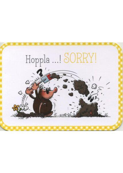Gezeichnete Doppelkarte: Hoppla! Sorry! Alles wieder gut?