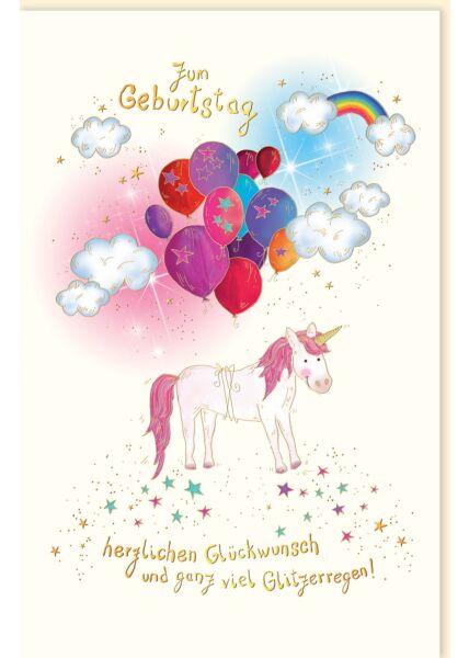 "Glückwunschkarte Geburtstag premium: ""Einhorn"" Glitzerregen"