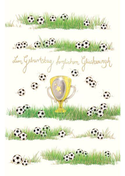 Geburtstagskarten für Kinder;Geburtstagskarten für Männer;Glückwunschkarten Geburtstag Geburtstagskarte für Fußballspieler Naturkarton