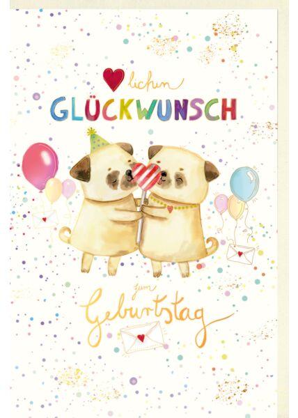 Kinder Geburtstagskarte Hunde, Luftballons, mit Goldfolie und Blindprägung, Naturkarton