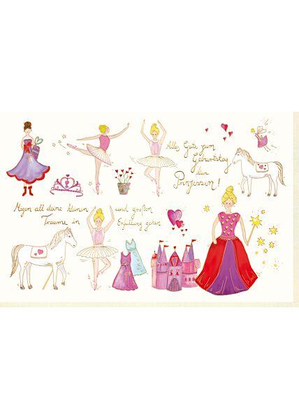 Karte Kindergeburtstag Mädchen kleine Prinzessin