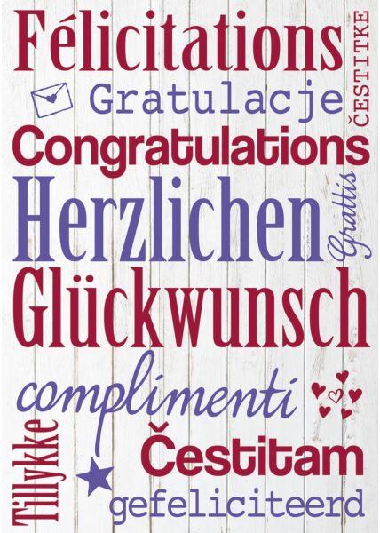 A4 Maxi Glückwunschkarte Geburtstagskarte verschiedenen Sprachen