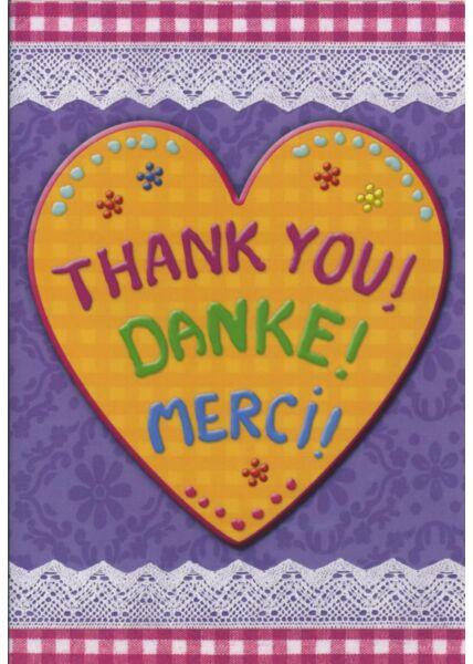 Schöne Doppelkarte: Thank you! Danke! Merci!