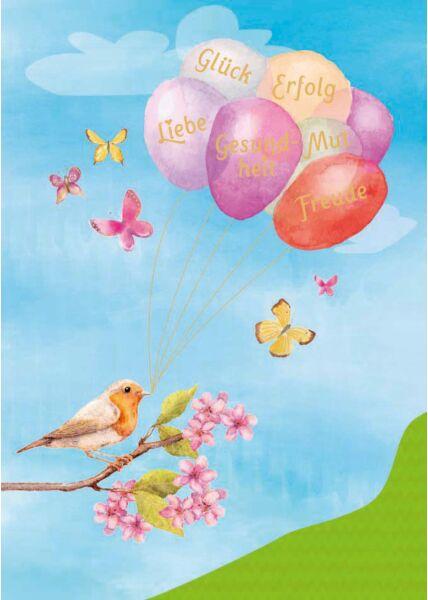 Postkarte Spruch Glück Erfolg Mut Freude Gesundheit Liebe