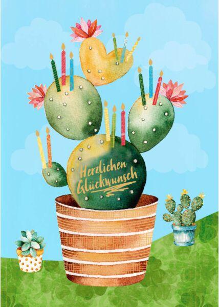 Geburtstagspostkarte Kaktus Kerzen Herzlichen Glückwunsch