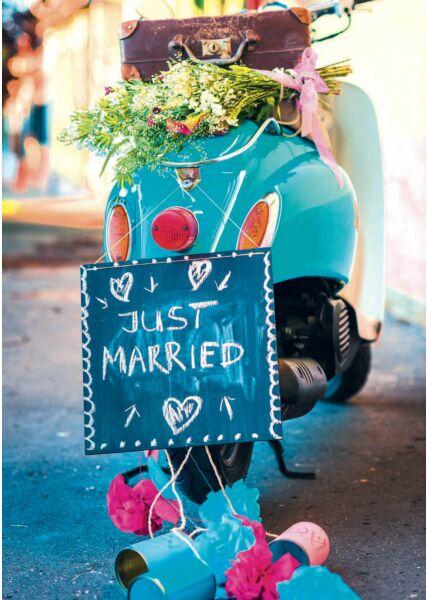 A4 Maxi Hochzeitskarte Motorroller mit Koffer, Blumen und Schild: Just Married