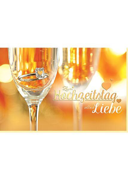 Karte Hochzeitstag: Sektglas mit Ring