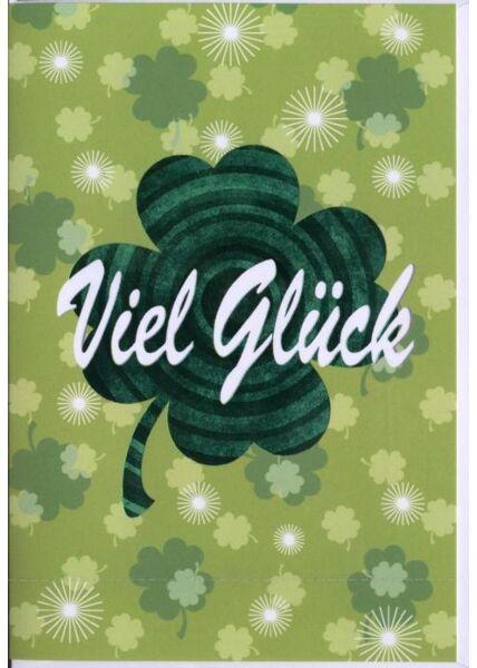 "Abschiedskarte: ""Viel Glück"" Kleeblatt grün"
