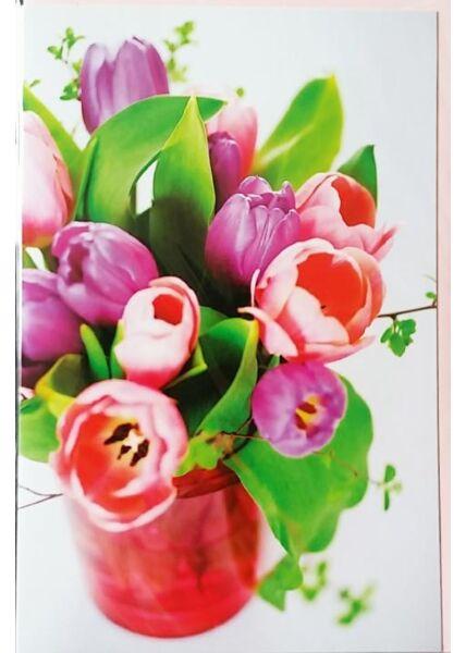 "Grußkarte ohne Text | Blankokarte: ""Tulpenvase"""