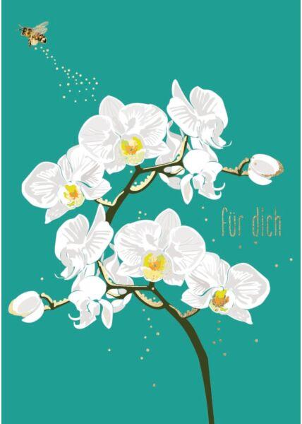 Postkarte Freundschaft Orchidee weiß - Für Dich
