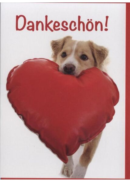 Danksagungskarte Hund mit Herz, Tiermotiv: Dankeschön!