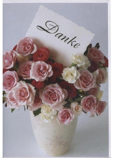 """Dankeskarte │ Danksagungskarte: """"Danke"""" Rosenvase"""