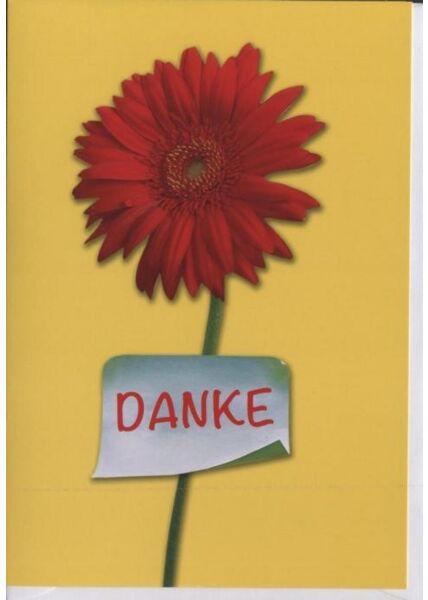 "Dankeskarte │ Danksagungskarte: ""Danke"" Blume rot"