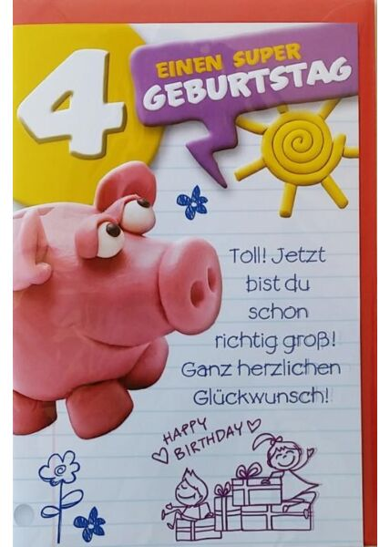 """Geburtstagskarte 4 Kinder 4 Jahr. Kindergeburtstag: """"Einen super Geburtstag"""""""