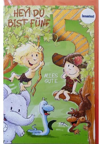 """Geburtstagskarte 5 Kinder 5 Jahr. Kindergeburtstag: """"Hey! Du bist fünf"""""""