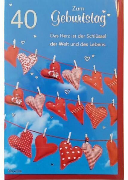 """Geburtstagskarte 40 Jahre: """"Das Herz ist der Schlüssel"""""""