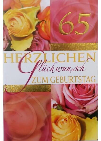 """Geburtstagskarte 65 Jahre: """"Herzlichen Glückwunsch 65"""""""