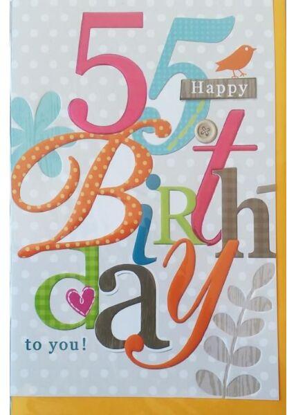 "Geburtstagskarte 55 Jahre: ""Happy Birthday to you"""