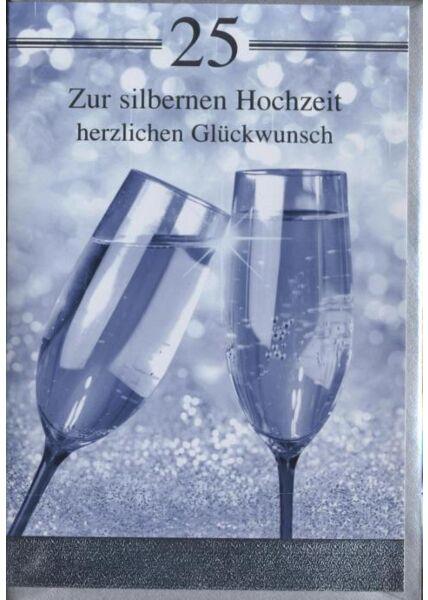 """Glückwunschkarte zur Silberhochzeit: """"Zur silbernen Hochzeit herzlichen Glückwunsch"""""""