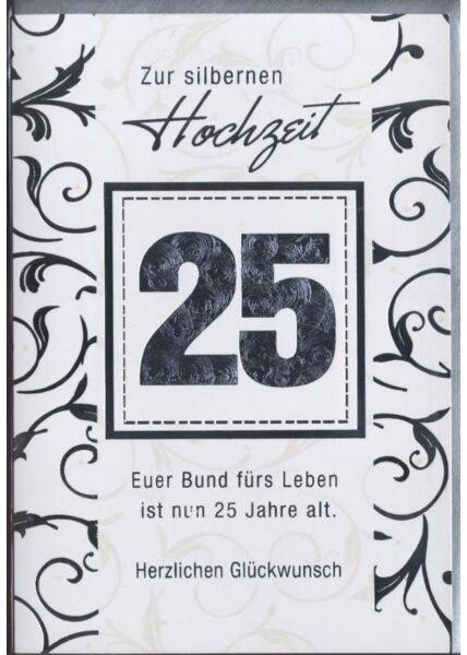 """Glückwunschkarte zur Silberhochzeit: """"Zur silbernen Hochzeit 25"""""""