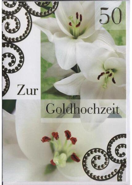 """Glückwunschkarte zur goldenen Hochzeit: """"Zur Goldhochzeitzeit"""""""