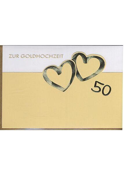 """Glückwunschkarte zur goldenen Hochzeit: """"Zur Goldhochzeitzeit 50"""" Goldfolie"""