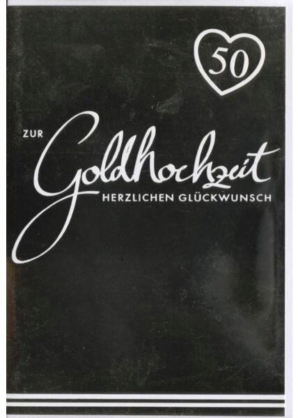"""Glückwunschkarte zur goldenen Hochzeit GOLDFOLIE: """"Zur Goldhochzeitzeit herzlichen Glückwunsch"""""""
