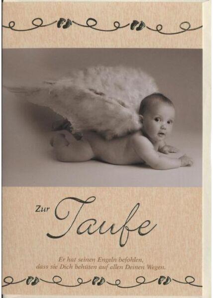 """Glückwunschkarte zur Taufe: """"Zur Taufe"""" Babyengel"""