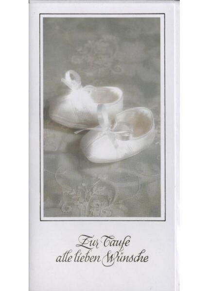 """Glückwunschkarte zur Taufe: """"Zur Taufe alle lieben Wünsche"""" Schuhe"""