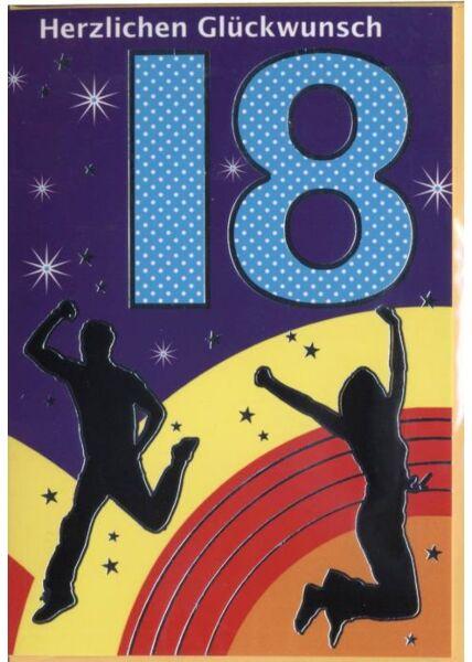"""Geburtstagskarte 18 Jahre: """"Herzlichen Glückwunsch 18"""" Party"""