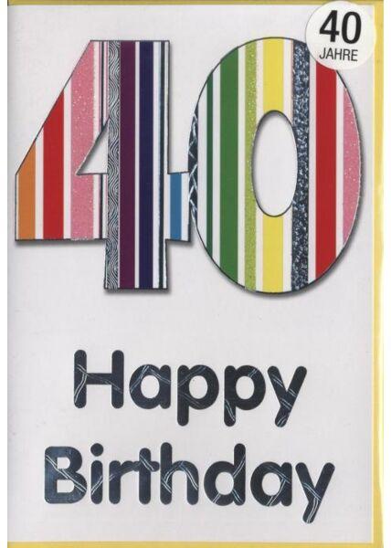 """Geburtstagskarte 40 Jahre: """"40 Happy Birthday"""" Silberfolie"""