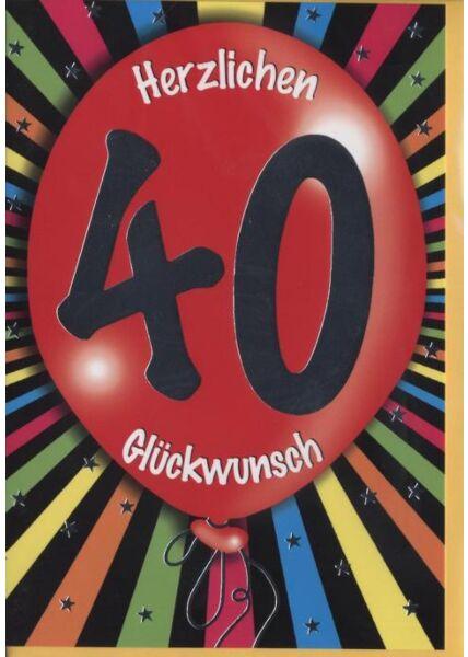 """Geburtstagskarte 40 Jahre: """"40 Herzlichen Glückwunsch"""" Silberfolie"""