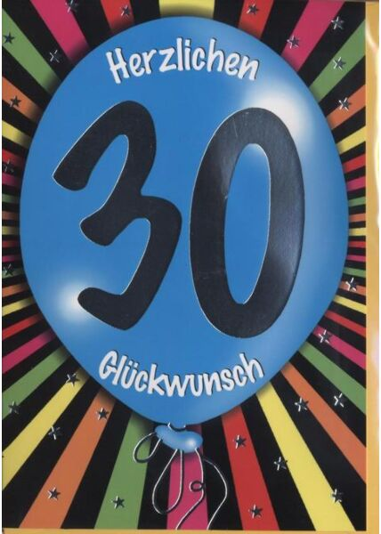 """Geburtstagskarte 30 Jahre: """"30 Herzlichen Glückwunsch"""" Silberfolie"""