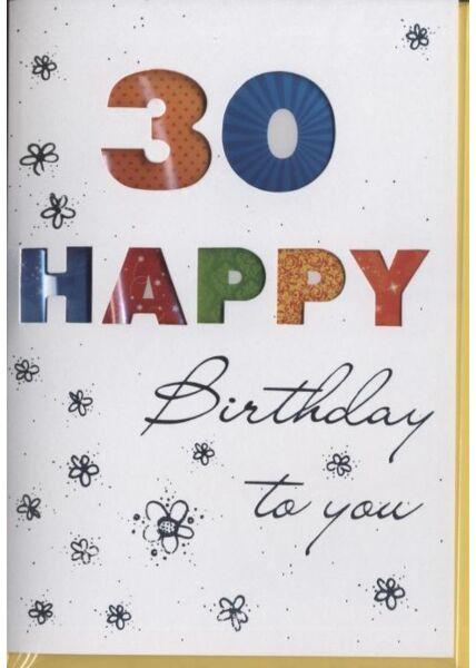 """Geburtstagskarte 30 Jahre: """"30 Happy Birthday"""" Silberfolie"""