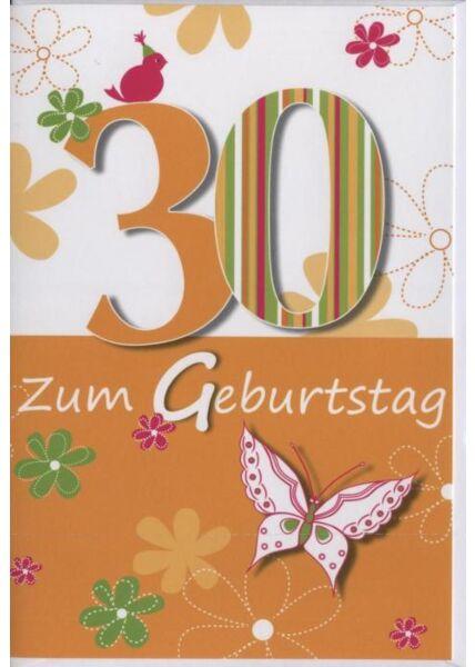 """Geburtstagskarte 30 Jahre: """"30 Zum Geburtstag"""""""
