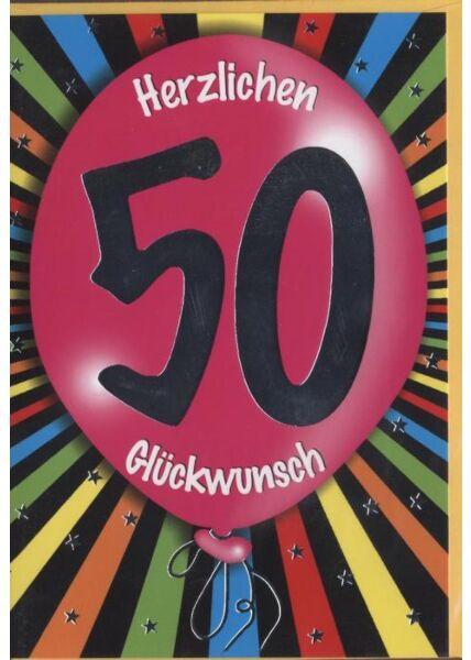 """Geburtstagskarte 50 Jahre: """"Herzlichen Glückwunsch 50"""" Ballon"""