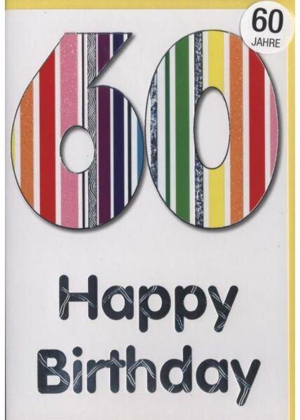 """Geburtstagskarte 60 Jahre: """"Happy Birthday 60"""" Silberfolie"""