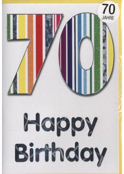 """Geburtstagskarte 70 Jahre: """"Happy Birthday 70"""" Silberfolie"""