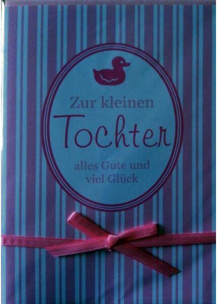 Glückwunschkarte Geburt Baby Tochter rosa mit Schleife