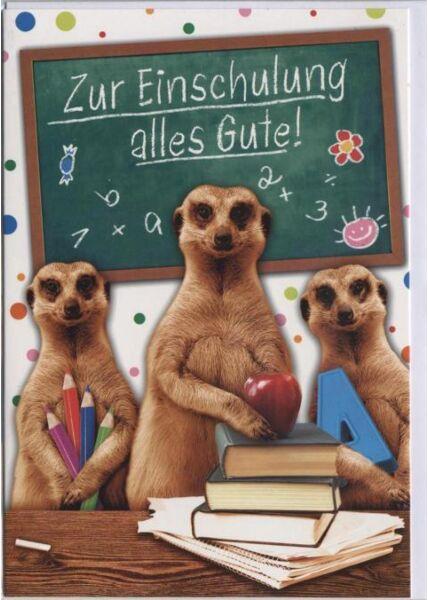 Glückwunschkarte zum Schulanfang: Zur Einschulung alles Gute!