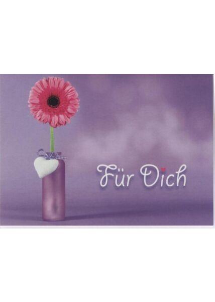 Grußkarte: Für Dich, Blume in Vase