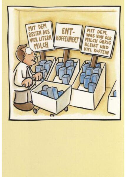 Fröhliche Postkarte: Mit dem besten aus vier Litern Milch