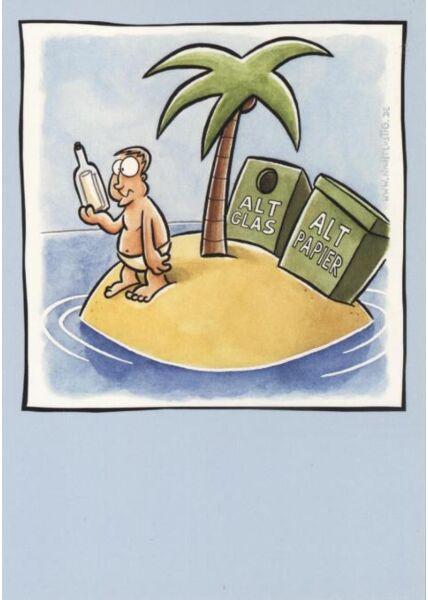 Fröhliche Postkarte: Altglas