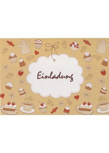 Fröhliche Postkarte: Einladung