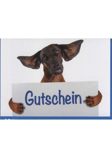 Gutscheinkarte Hund, Tiermotiv: Gutschein