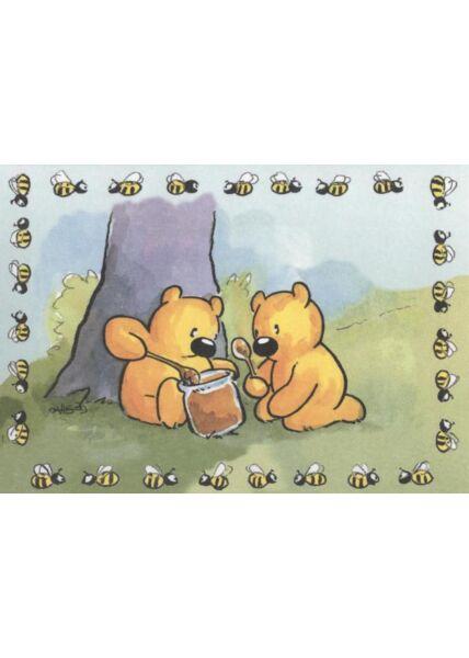 Jan Vis Postkarte Bären: Honig