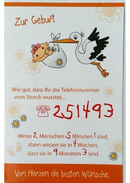 """Karte Geburt Baby: """"Telefonnummer vom Storch"""""""