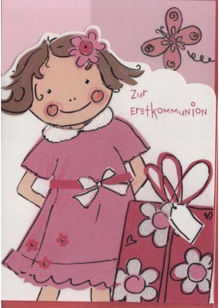 Kommunionskarte: Zur Erstkommunion, Mädchen
