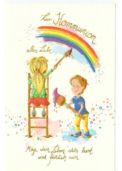 Grußkarte Kommunion Regenbogen Kinder Pinsel