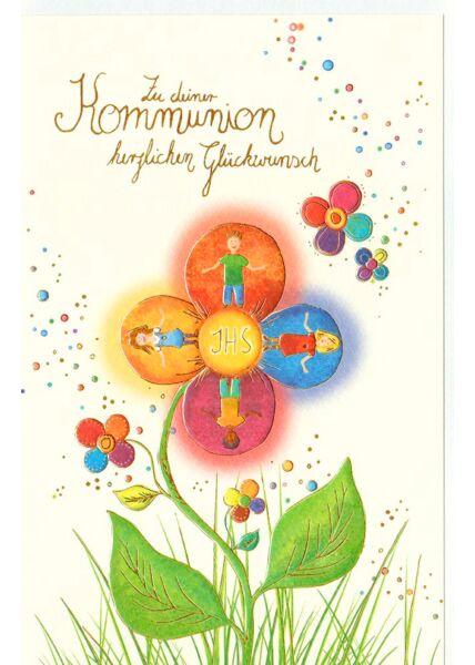 Karte Kommunion Premiumpapier Blume